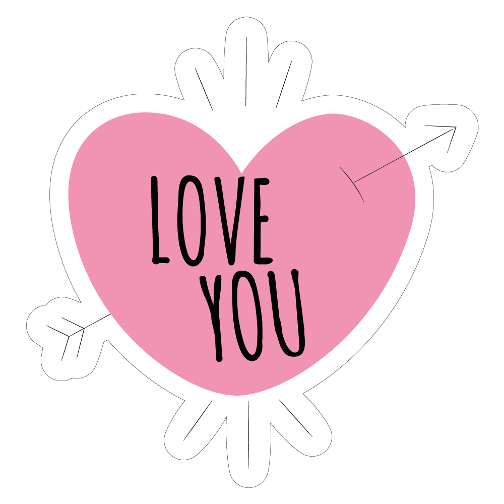 Love You - vinyl custom sticker at great prices - ChimpStickers com